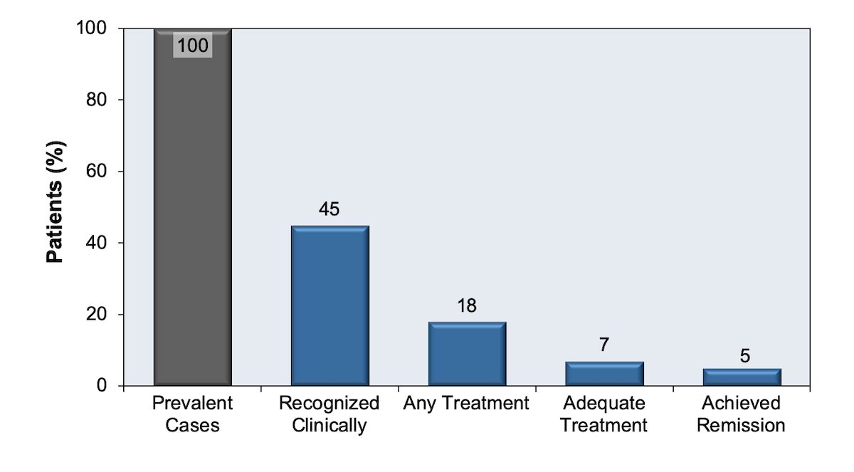 This graphic shows that among all HIV patients with a major depressive episode in the past year, the estimated proportion of patients that have: the depression recognized clinically, receiving any treatment, receiving adequate treatment, and achieved remission.<div>Source: Pence BW, O'Donnell JK, Gaynes BN. Falling through the cracks: the gaps between depression prevalence, diagnosis, treatment, and response in HIV care. AIDS. 2012;26:656-8.</div>