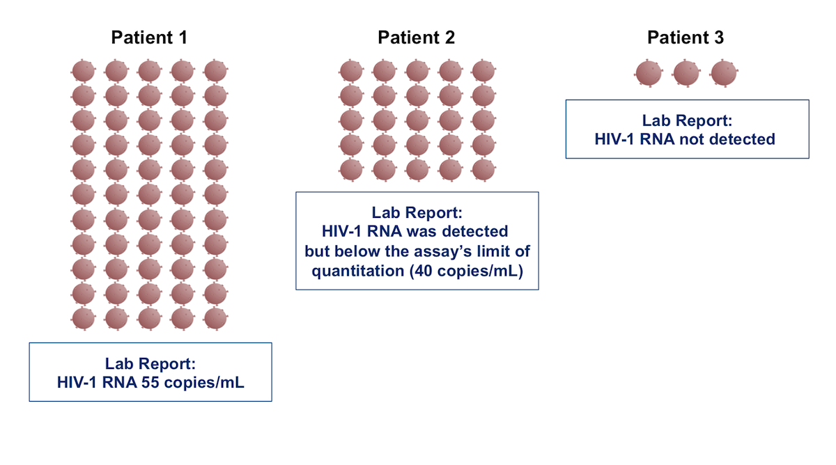As shown in the sample from patient 2, in some individuals with HIV infection, HIV RNA is detectable in a plasma sample but the amount of HIV RNA is so low (less than 40 copies/mL) that the laboratory assay cannot accurately quantitate the HIV RNA level. In this situation, the laboratory report typically states HIV-1 RNA was detected in this sample but below the assay's limit of quantitation. This contrasts with the sample from patient 1 that corresponds with a quantitative HIV-1 RNA level since it is above 40 copies/mL.  For the sample from patient 3, the HIV RNA level is extremely low and would not be detected on most standard commercial assays.<div></div>