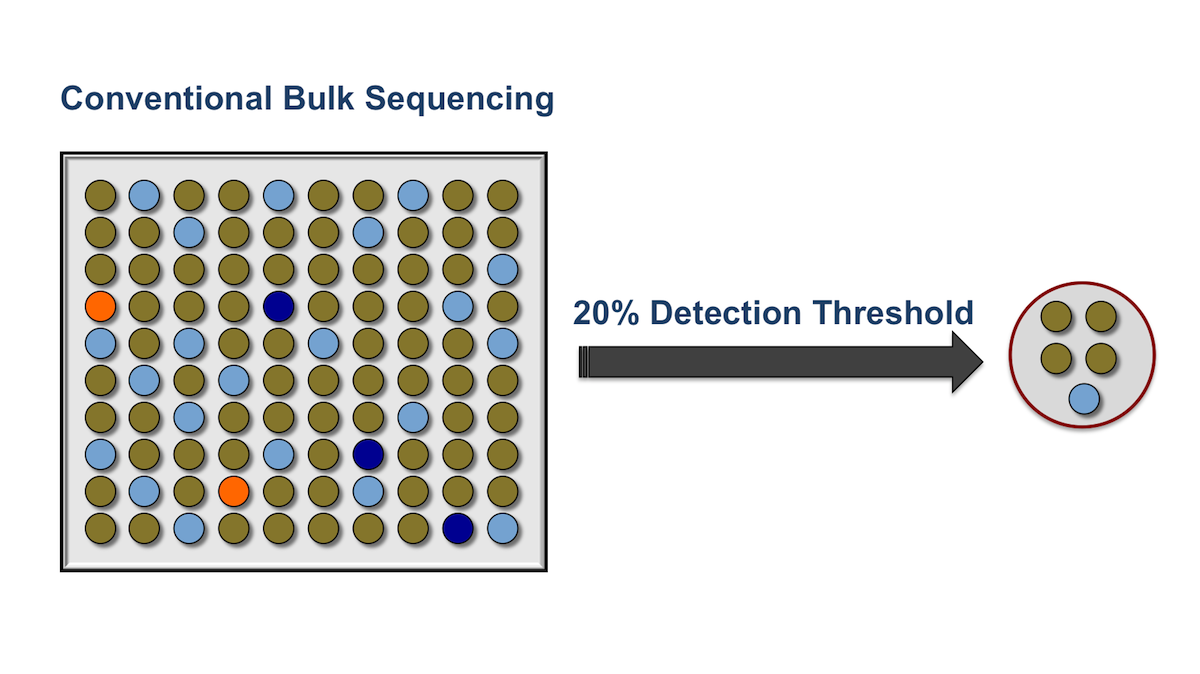 This illustration shows the typical sensitivity with conventional bulk sequencing, which reliably detects minority variants that are present in at least 20% of the HIV strains analyzed.<div></div>