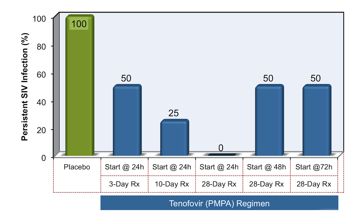 Among animals that received placebo, all became infected with simian immunodeficiency virus (SIV). The most effective tenofovir prevention regimen consisted of early initiation of tenofovir (at 24 hours) and long duration of postexposure prophylaxis (28 days).<div>Source: Tsai CC, Emau P, Follis KE, et al. Effectiveness of postinoculation (R)-9-(2-phosphonylmethoxypropyl) adenine treatment for prevention of persistent simian immunodeficiency virus SIVmne infection depends critically on timing of initiation and duration of treatment. J Virol. 1998;72:4265-73.</div>