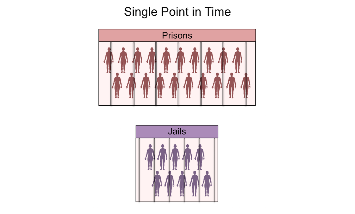 This graphic illustrates the concept that on any given day in the United States, there are significantly more individuals incarcerated in prisons than in jails. Typically, at any single point in time, the number of incarcerated adults housed in prisons is approximately twice those in jails.<div></div>